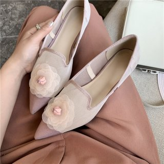 Arden Furtado Summer Fashion Women's Shoes Pointed Toe sweet flowers Pink mesh Flats