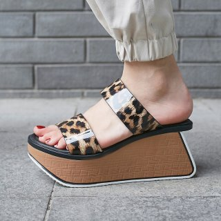 Arden Furtado Summer Fashion Women's Shoes Waterproof Slippers casual Personality Leopard wedges slides