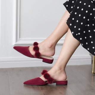 Arden Furtado Summer Fashion Trend Women's Shoes  Pointed Toe Pure Color Slippers Mature Burgundy Elegant Mules Pure Color