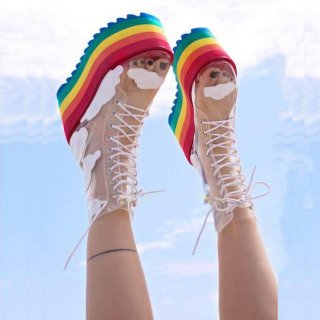 Fashion women's shoes 2019 spring autumn women's boots ankle boots wedges platform cross tied rainbow pvc shoes