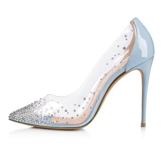 Arden Furtado Summer Fashion Women's Shoes Pointed Toe Stilettos Heels Slip-on Elegant Crystal Rhinestone Pumps Wedding Shoes