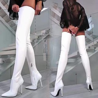 Arden Furtado fashion women's shoes online celebrity zipper pure color white booties over the knee thigh high boots stilettos heels