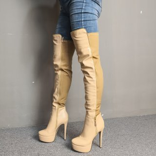 Arden Furtado Summer Fashion Trend Women's Shoes Stilettos Heels Zipper Pure Color  over the knee high boots Sexy Elegant Ladies Boots