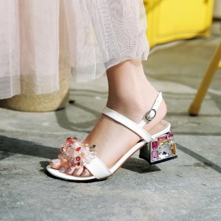 Arden Furtado Summer Fashion Trend Women's Shoes  Crystal Rhinestone Chunky Heels  Sexy Elegant  Pure Color Sandals Concise Buckle