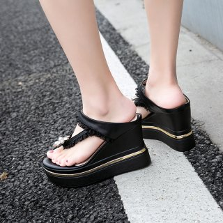 Arden Furtado Summer Fashion Trend Women's Shoes  Sexy Elegant Pure Color black Slippers Waterproof Leather Wedges Concise