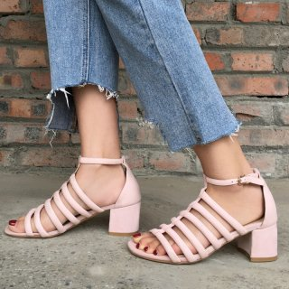 Arden Furtado Summer Fashion Trend Women's Shoes Chunky Heels sandals  Elegant Pure Color Concise Narrow Band Elegant Sandals Buckle