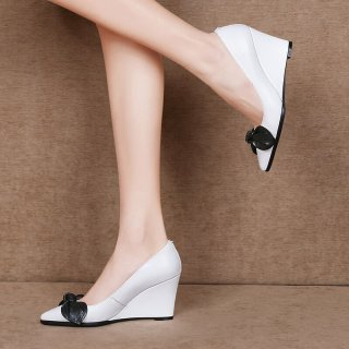 Arden Furtado Summer Fashion Trend Women's Shoes Pointed Toe   Sexy Elegant Slip-on Wedges Pumps Leather Shallow Butterfly-knot