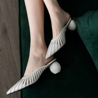 Arden Furtado Summer Fashion Trend Women's Shoes Pointed Toe   Sexy Elegant Pure Color Slippers Mules Leather Mature Classics