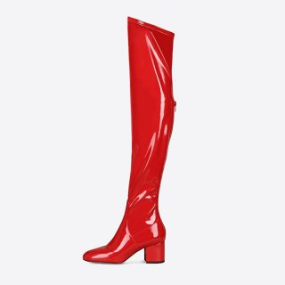 Arden Furtado Fashion Women's Shoes Winter Chunky Heels Zipper Sexy Elegant Ladies Boots Pure Color Over The Knee High red Boots