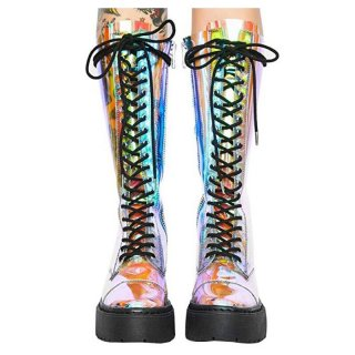Arden Furtado Spring And autumn Fashion Women's Shoes flat platform Knee High Boots Cross tied zipper PVC Matin Boots