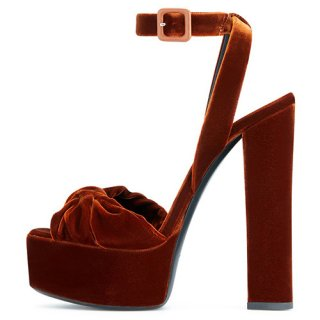 Arden Furtado Summer Fashion Women's Shoes Chunky Heels Sexy Elegant Pure Color velvet Sandals Buckle platform Party Shoes