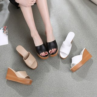 Arden Furtado Summer Fashion Trend Women's Shoes Sexy Elegant Pure Color white Wedges Slippers Concise Mature Leather Classics