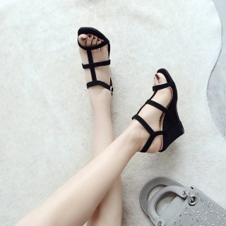 Arden Furtado Summer Fashion Trend Women's Shoes  Sexy Elegant Pure Color Classics Narrow Band Buckle Wedges Concise Sandals