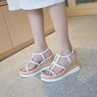 Arden Furtado Summer Fashion Trend Women's Shoes Sexy Elegant Pure Color white Sandals Wedges Waterproof Matte Leather Concise