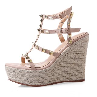 Arden Furtado Summer Fashion Trend Women's Shoes  Sexy Elegant Pure Color Sandals Wedges Waterproof  Leather Rivet Concise