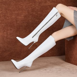 Arden Furtado Black Pointed toe zipper Stilettos heels Women's boots knee high boots White boots size 43