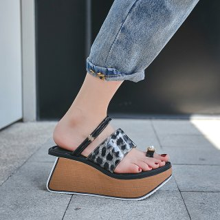 Arden furtado Brown Black High heels Wedges Fashion leopard sandals Casual shoes Personality platform Slippers