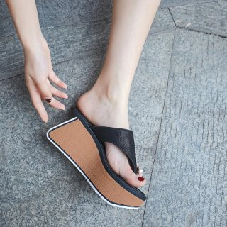 Arden furtado Elegant summer Brown Black consice Waterproof  Wedges Fashion slippers flip-flops
