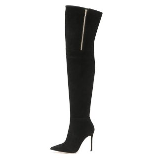 Arden Furtado Fashion Women's Shoes Winter Pointed Toe Stilettos Heels Zipper Sexy Elegant over the knee high boots sexy boots