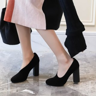 Arden Furtado Summer Fashion Trend Women's Shoes Ladylike Temperament Personality Pointed Toe Chunky Heels  black gray Sexy Elegant pure color Slip-on Pumps
