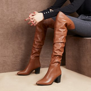Arden Furtado Fashion Women's Shoes Winter  Pointed Toe Chunky Heels  Sexy Elegant  Over The Knee High Boots Concise Mature