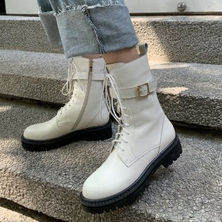 Arden Furtado Fashion Matin Boots Winter Elegant Ladies Boots  pure color Cross Lacing Round Toe Short Boots Knee High Boots