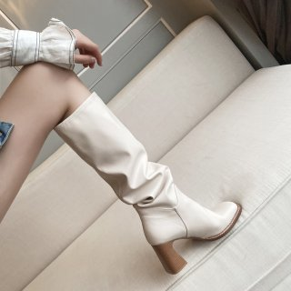 Arden Furtado Fashion Women's Shoes Winter Elegant Ladies Boots Genuine Leather square toe pleated knee high Boots