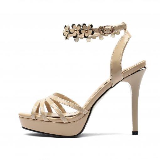 af87982e599a Arden Furtado 2018 summer high heels 10cm stilettos peep toe buckle strap  genuine leather platform cover