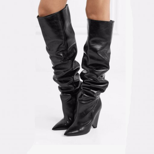 winter fashion knee high boots Cone Heels 10cm plicated high heels spike heels woman boots brown green black