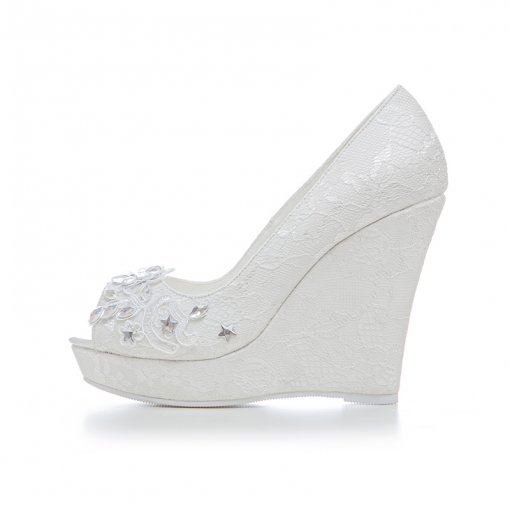 autumn summer lace crystal rhinestone white wedding shoes pumps flowers platform  high heels 11cm big size 74c6a6139a92