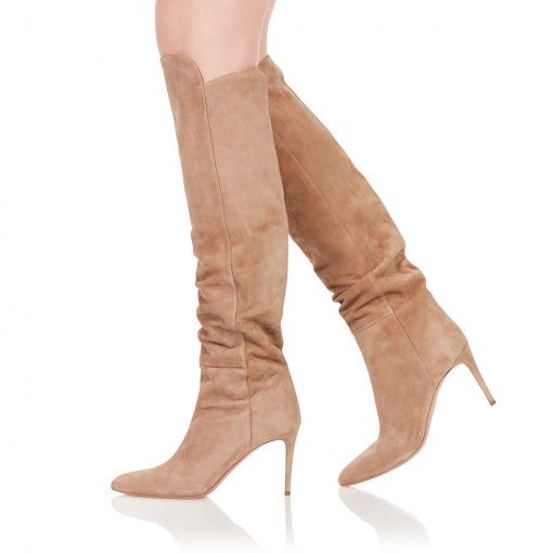 Winter 2019 hot style women's shoes stilettos women's boots high heels elegant brown black suede knee high boots