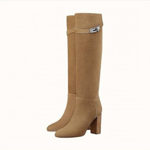 spring autumn chunky heels brown metal decoration big size knee high boots high heels fashion shoes