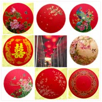 China style red oil paper umbrella with patterns of Dragon and Phoenix double happiness,red plum blossom,red/pink peony,begonia and Peking Opera face