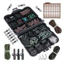 187Pcs/set Carp Fishing swivels Set Carp Tubes Safety Clips Hooks Swivels Kit Hair rigs With Hard Plastic Tackle Box