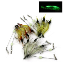 Luminous Shrimp Soft Lure Fake lures Fishing Artificial Bait With Glow Hook Swivels Anzois Para Pesca Sabiki Rigs