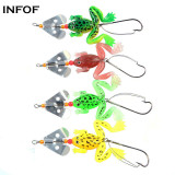 6g/7cm Soft  Frog Lure with Spinner  Buzzbaits Selicone Bait Top Water Bass Carp Fishing Bait