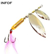 Spinnerbait  Metal  Saltwater Bass Fishing Lure with Treble Hooks Spinner Double Blades Spin Lures Pike Baits