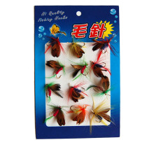 12 piece/set Fly Fishing Lure Simulation Flies Baits Set Dry /Wet Flies Fishing Tackle Feather Lures Carp Fishing Bait