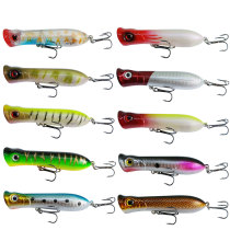 Popper Fishing Lures 3D Eyes Hard Plastic Baits for Saltwater Freshwater Fishing