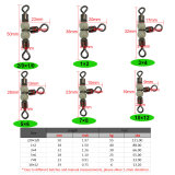 3 way luminous cross line  Fishing  rolling swivel with pearl beads ,rated from 18 LB to 126LB