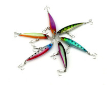 Minnow Lure with 6# treble hooks Steel beads inside  ,Hard Plastic Fishing bait  6g/0.21oz,8cm/3.14in