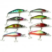 10 pieces/bag  Minnow lure with 8# treble hooks 3D eyes noise bass fishing lure  ice fishing tackle pesca,6.3g/0.22oz 8cm/3.14