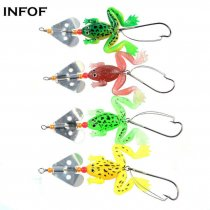 Soft  Frog Lure with Spinner  Buzzbaits 3.54   0.2oz Selicone Bait Top Water Bass Carp Fishing Bait