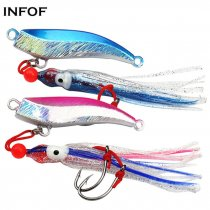 Lead Jig Head 80g 100g Trolling Jigs with Squid Skirts 2 Single-assist Hooks Jigging Saltwater Fishing Lure