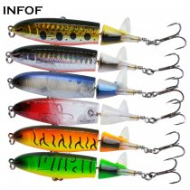 INFOF 6 pieces Fishing Saltwater Whopper Popper 10cm/13g Topwater Crappie Fishing Lures Floating Wobbler Spinner  Baits Lure for Bass Fishing
