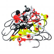 Round Painted Lead Ball Head Fishing Jigs/Hooks (50 Pack)