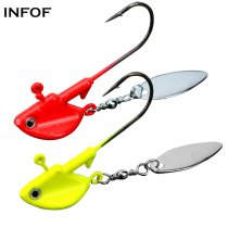 Fishing Jigs with Spoons Spinner Willow Blades6g 10g 12g 14g Lead Fish Head Fishing Jigs for Bass Saltwater Freshwater