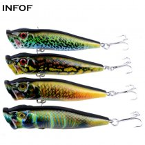 Top Water Fishing Lures Bass Hard Baits 3D Eyes Life-Like Swimbait Fishing Poppers for Freshwater Saltwater Fishing