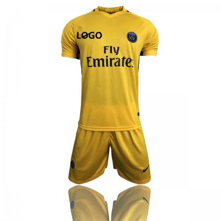 2017 18 Adult Men PSG Away Paris Yellow soccer Jersey Uniforms Complete  Football Kits Custom soccer ... 5223d1afc