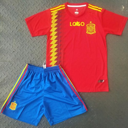 timeless design 9d680 c2982 2018 World Cup Spain Home Soccer Jerseys Uniform Youth Red/Blue Football  National Team Kits Cheap Soccer sets